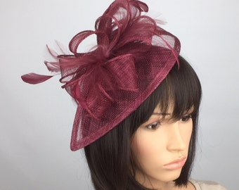 Burgundy Fascinator Maroon Claret Fascinator Wedding Fascinator Mother of the bride Ladies Day Ascot races Occasion