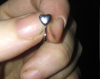 Silver heart fake nose ring