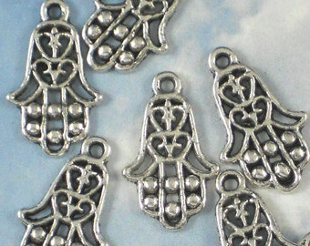 10 Hamsa Charms Silver Tone Hand of Fatima Dangles 23mm Perfect for Earrings - Evil Eye Protection (P691)