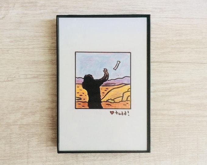 2001: A Space Odyssey, 4 x 6 inch Print, Stanley Kubrick, Art, Drawing, Movies, Pop Culture, Wall Decor, Ape, bone