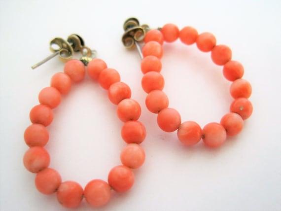 Coral Earrings, Vintage Dangles, Pierced Drops, Coral Hoops
