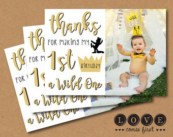 Where the Wild Things Are Inspired Photo Thank You Card Printable- black white gold typography crown max silhouette Wild One I'll eat you up