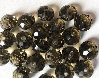 15x8mm Dark Smoky Czech Glass Faceted Rondelle Beads