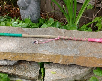 Crystal tipped Pink and green pomegranate wood wand