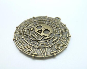 4pcs- Antique Bronze Aztec Charm, Pirates of the Caribbean charm pendants, Aztec Gold Coin 40mm C1672