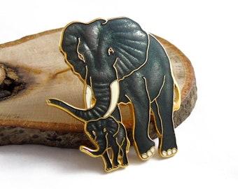 Vintage Fish Elephants Brooch, Cloisonne Brooch, Enamel Animal Pin, Grey Elephant Brooch, Mother and Child Pin, 1980s Brooch,Baby Elephant,