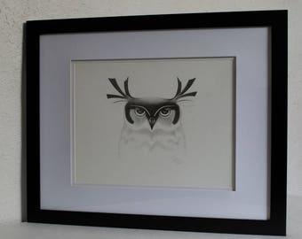 Original Graphite Drawing, Owl, Graphite Drawings, Owl Drawing