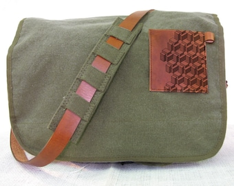 canvas messenger bag with leather accents cubes bag - olive green
