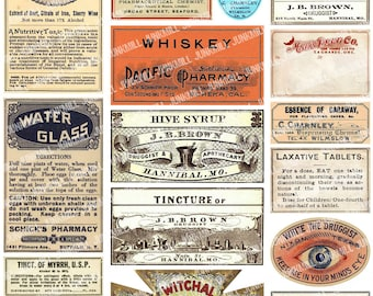 APOTHECARY - Digital Printable Collage Sheet - Vintage Apothecary & Medicine Labels, Drug Store, Snake Oil, Quack Remedies, Instant Download
