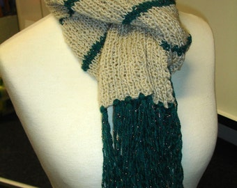 Beige and green striped scarf -  ready to ship