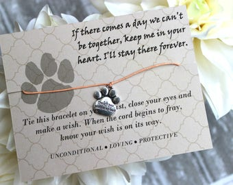 If There Comes A Day We Can't Be Together Wish Bracelet, Wish Upon Your Wrist, Sympathy Bracelet, Loss Of A Pet Gift, Paw Print Bracelet