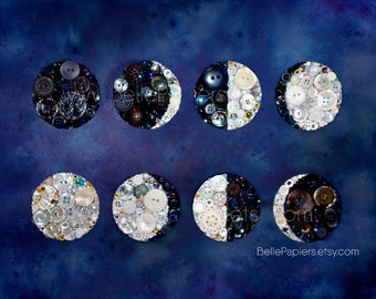 Moon Phases Button Art | Moon Rituals | Button Moon | Watercolor Moons | Watercolor Moon Wall Art | Full Moon Art | Waxing Moon | Magick