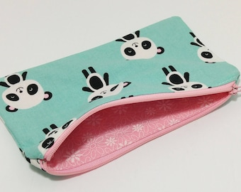 Pandas on Blue Novelty Zipper Pouch - makeup bag; pencil case; gift for her; cosmetic bag; carry all; gadget case;