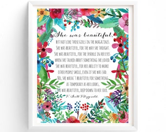 Art Prints, Quote Prints, Printable Quotes She was beautiful, F Scott Fitzgerald ,