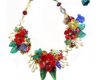 Glass Flower Necklace, Lampwork Glass Flowers, Glass Flower Headpins, Wire Wrapped Jewelry