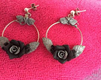 Black and silver rose hoop earrings