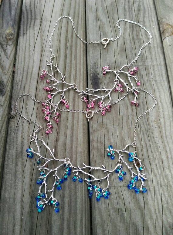 SILVER TREE NECKLACE with crystal drops