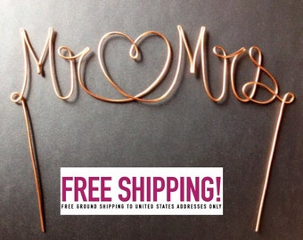 Wire Mr & Mrs/Heart Wedding Cake Topper