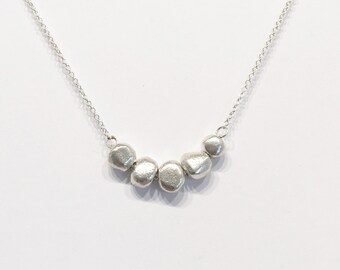 5 pebbles sterling necklace