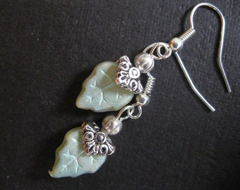 Pale Green Luster Czech Glass Leaf Bead Earrings with Silver Bead Caps - Silver Pierced Earwires - Decorative Beadcaps