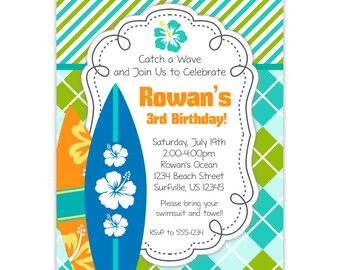 Surf Invitation - Turquoise, Lime Stripes and Argyle, Orange and Blue Surfboards Personalized Birthday Party Invite - Digital Printable File
