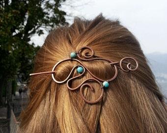 Blue jasper hair slide Boho hair barrette Bohemian style hair accessories Spiral hair pin Spiral jewelry Womens accessories Womens gift