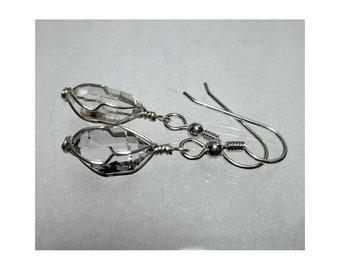"""ww1298 - 1/2"""" Wirewrap HERKIMER DIAMOND EARRINGS - Argentium Sterling Silver"""
