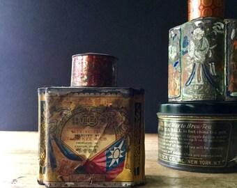 Vintage Tea Tins, Antique Tins, Tea Caddy, Tack Kee & Co, Tea Storage Tins, Paper Label Tin, Asian Tea, Hong Kong, Old Tin Cans, Tin Litho