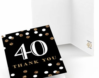 40th Birthday Thank You Cards - Adult 40th Birthday - Gold Thank You Cards - Birthday Party Thank You's - Set of 8 Folding Note Cards