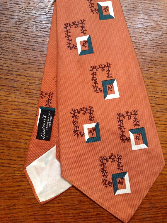Vintage 1950s 50s American tan brown green white rockabilly wide neck tie mid century patterned squares