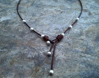 Leather and Silver Choker