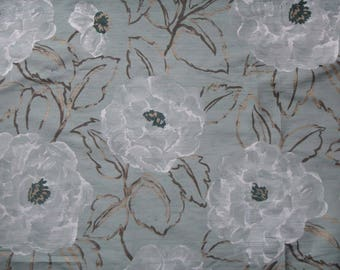"Pure Silk Print 97cm x 145cm (38"" x 57"") Harlequin Amilie ROSELLA Duckegg Burnished Gold White Floral Blooms 100% Silk Dupion Fabric"