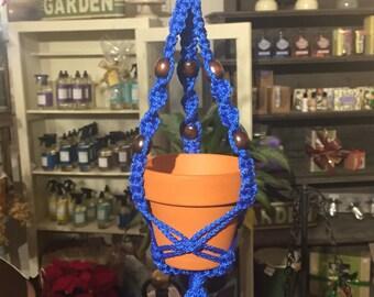 Macrame Car Plant Hanger *Blue*