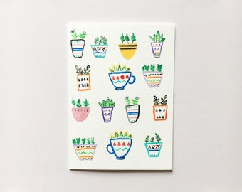 Colorful plant card! (free shipping)