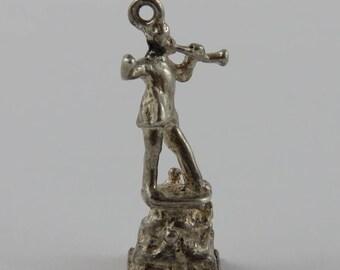 Statue of Pied Piper of Hamelin Sterling Silver Vintage Charm For Bracelet