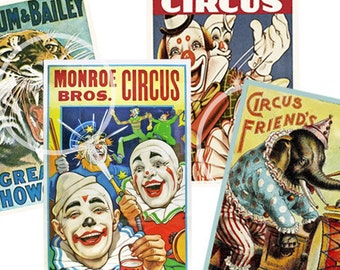 Circus Vintage Posters, Printable Clown Party Decoration Cards, Vintage Carnival, Scrapbook Supplies, Circus Birthday Party, School Carnival