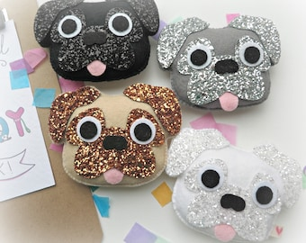 Pug Hanging decoration - fawn, brown, black, white, silver, grey - glitter