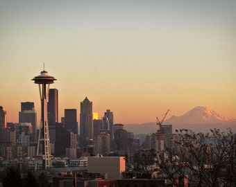 Seattle skyline photo, seattle skyline print, seattle skyline canvas, oversized print, Space Needle print, Mt. Rainer photo