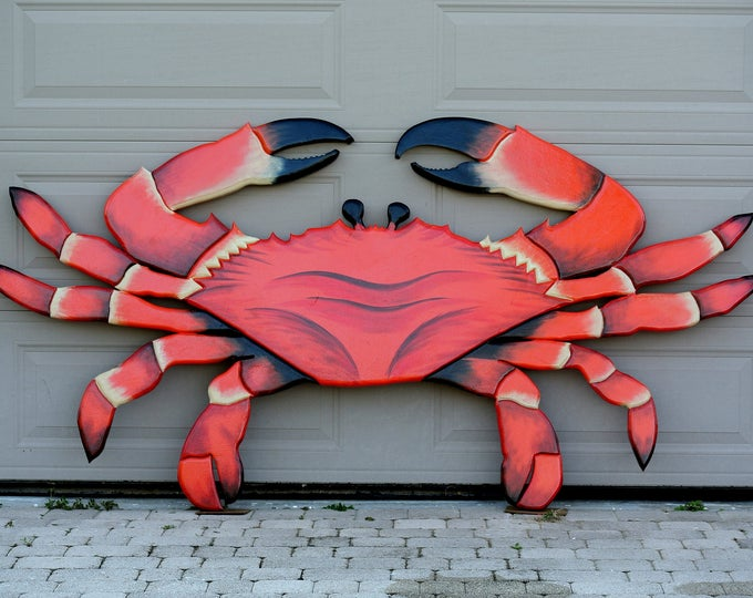 """Seafood Restaurant 96x48"""" Red Crab sign. Crab Shack Wooden 3D sign. Restaurant decor sign. Custom seafood sign."""