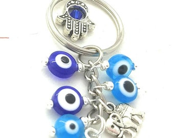 Evil eye keychain, hamsa keychain, evil eye accessory, evil eye amulet, Fatima keychain, protection good luck key chain