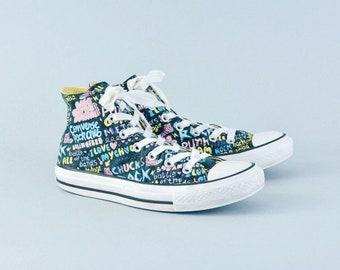 Retro 90's Style Converse Hi Tops Trainers Sneakers Graffiti UK 6 EU 39 US 8