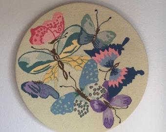 1960's Butterfly Needlepoint Wall Art