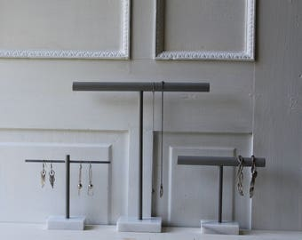Modern Marble Jewelry Displays  - Necklace Display - Bracelet Display - Earring Display - White and Gray Marble Base - T Bar - Minimalist