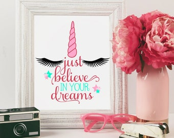 Just believe in your dreams, Unicorn face horn Rainbow SVG cut file for silhouette cameo and cricut