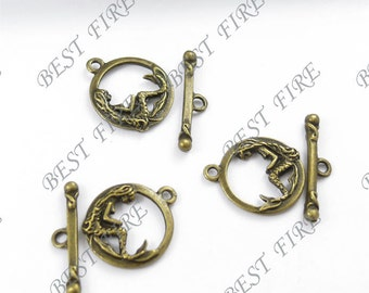 12 sets of Antiqued copper Toggle archaistic mermaid clasps