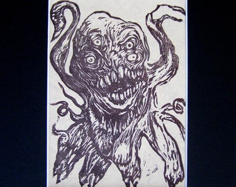 Shoggoth in Chase, a Bruise-Colored Print on Antique Wallpaper