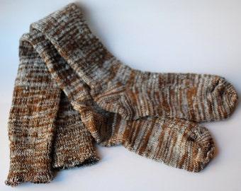 Women's Socks Brown Knee High Socks Boot Socks Neutral Ragg Variegated Handcranked CSM Wool Cotton Christmas Gift Socks