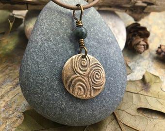 Newgrange Spiral Bronze Pendant, Irish Celtic Jewelry, Triple Spiral, Connemara Marble, Pagan Druid Necklace, Bronze Spirals, Ireland