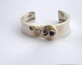 Lovely Modernist Artisan Textured Sterling Amethyst Garnet Hematite Cuff Bracelet