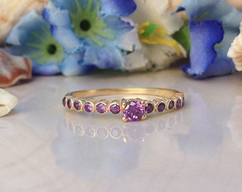 20% off-SALE!! Amethyst Ring - Stacking Ring - TIny Ring - Gold Ring - Purple Ring - Dainty Ring - Simple Ring - February Birthstone